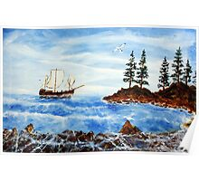 Coast-dwellers boat (classical oil painting for posters and prints)3 Poster