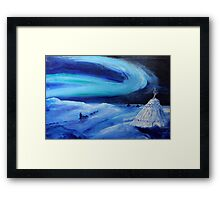Aurora borealis (classical oil painting for posters and prints) Framed Print
