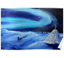 Aurora borealis (classical oil painting for posters and prints) Poster