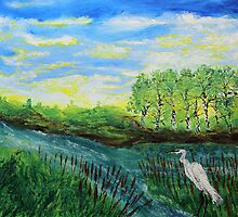 Stork (classical oil painting for posters and prints) by konovalenko