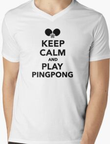 Keep calm and play Ping Pong Mens V-Neck T-Shirt