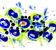 Blue Flowers Unique Art by Vincent J. Newman