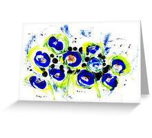 Blue Flowers Unique Art Greeting Card