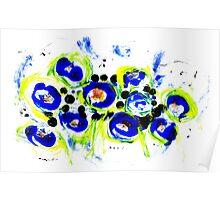 Blue Flowers Unique Art Poster