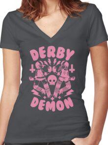 Derby Demon Women's Fitted V-Neck T-Shirt