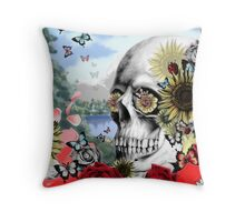 Nature skull landscape Throw Pillow
