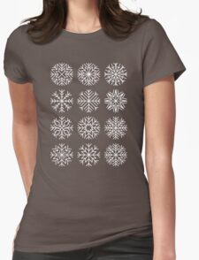 minimalist snow flakes on black Womens Fitted T-Shirt