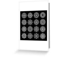 minimalist snow flakes on black Greeting Card