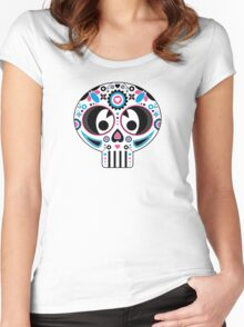Mexican 'Day of the Dead' Pattern Women's Fitted Scoop T-Shirt