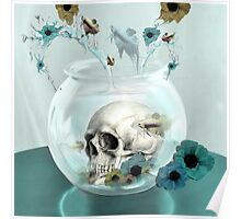 Looking glass skull in fish bowl  Poster