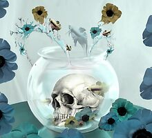 Looking glass skull in fish bowl  by KristyPatterson