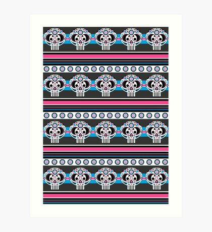 Mexican 'Day of the Dead' Skull Stripe Art Print