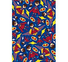 Cute Superhero Pattern Photographic Print