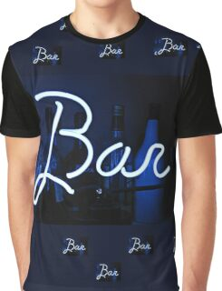Bar neon blue sign  Graphic T-Shirt