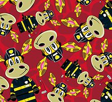 Cute Zebra Fireman Pattern by MurphyCreative