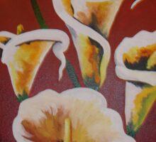 White Calla Lilies Sticker