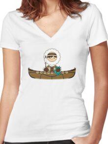 Cute Little Inuit Fisherman in Kayak Women's Fitted V-Neck T-Shirt