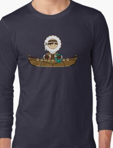 Cute Little Inuit Fisherman in Kayak Long Sleeve T-Shirt