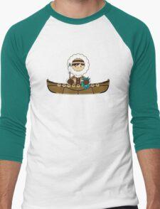 Cute Little Inuit Fisherman in Kayak Men's Baseball ¾ T-Shirt