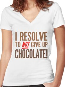 Chocolate Resolution Women's Fitted V-Neck T-Shirt