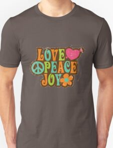 1970s Vintage Retro Style Love Peace Joy T-Shirt T-Shirt