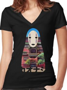 No Face Bathhouse2 Women's Fitted V-Neck T-Shirt