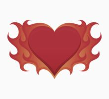 Burning heart with flames, red hot love by Mhea