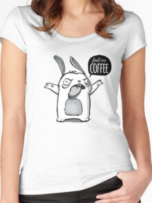 Feed me Coffee Cartoon Bunny Women's Fitted Scoop T-Shirt