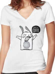 Feed me Coffee Cartoon Bunny Women's Fitted V-Neck T-Shirt
