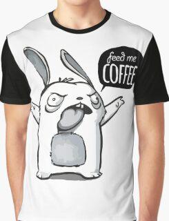 Feed me Coffee Cartoon Bunny Graphic T-Shirt