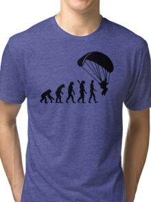 Evolution Skydiving Parachute jumping Tri-blend T-Shirt