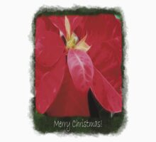 Mottled Red Poinsettia 2 Merry Christmas P1F5 One Piece - Short Sleeve