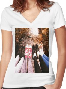 SHOeS and WaTER Women's Fitted V-Neck T-Shirt