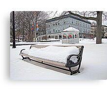Park Bench in Kingston, NY Canvas Print