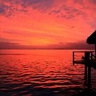 Red Sunrise - Moorea Island - Tahiti - French Polynesia by Honor Kyne