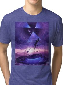 Boat man surrealistic painting Tri-blend T-Shirt