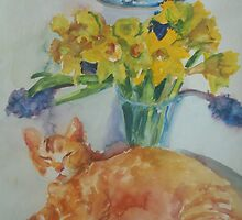 Ginger Cat and Daffodils by Emma Kaufmann