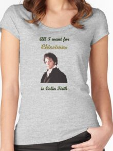 All I want for Christmas is Colin Firth Women's Fitted Scoop T-Shirt