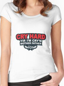 CRY HARD  Women's Fitted Scoop T-Shirt