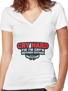 CRY HARD  Women's Fitted V-Neck T-Shirt