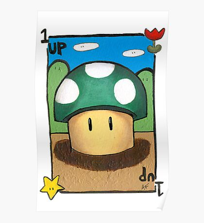 Mario 1up Mushroom Poster