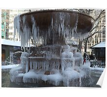 Icicles on a Frozen Water Fountain, Bryant Park, New York City Poster