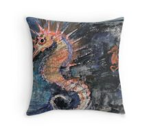 Three Seahorses Throw Pillow