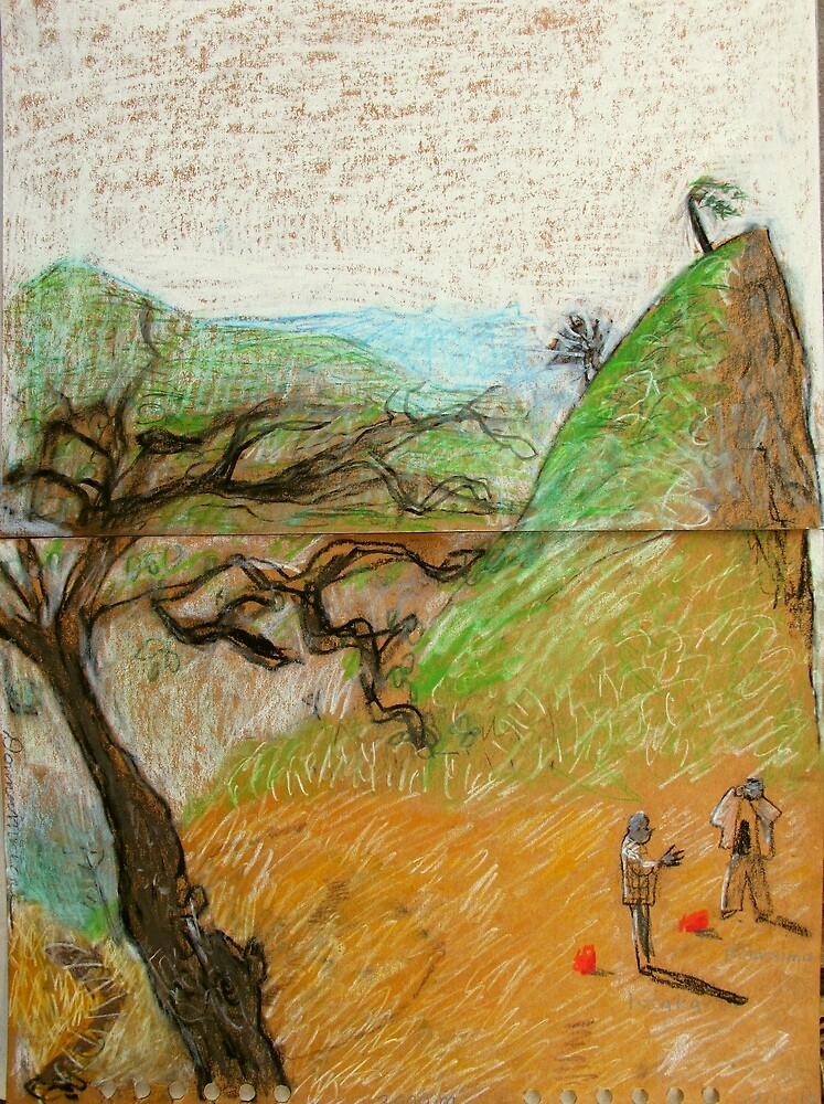 India - Boureima and Isaaka on sage mountain by donnamalone