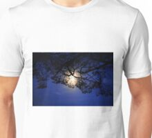 Moon in black lace of the tree Unisex T-Shirt