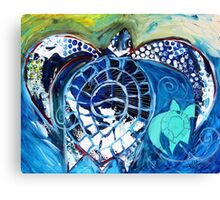 ABSTRACT BABY SEA TURTLE w/ Mama. Original Fine Art from J. Vincent Canvas Print