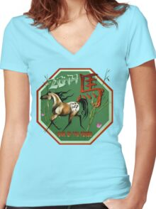 Year Of The Horse -2014-Wood Horse Women's Fitted V-Neck T-Shirt