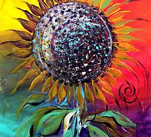 SUNFLOWER Abstract, Colorful, Whimsical, Vivid ART from J. Vincent !! NICE, MUST SEE by 17easels