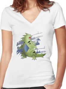 Tyranitar with Blue Rocky Scratches Women's Fitted V-Neck T-Shirt
