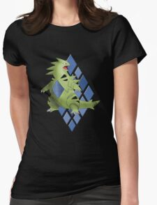 Tyranitar with Blue Diamond Pattern Womens Fitted T-Shirt